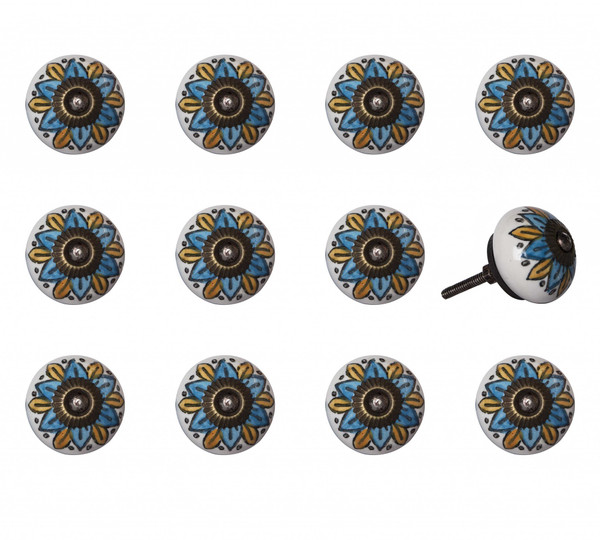 """1.5"""" X 1.5"""" X 1.5"""" Ceramic/Metal Multicolor 12 Pack Knob 358091 By Homeroots"""