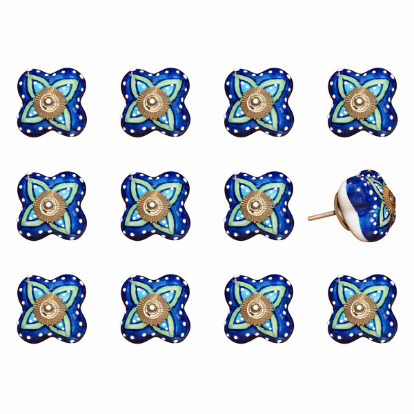 """1.5"""" X 1.5"""" X 1.5"""" Ceramic/Metal Multicolor 12 Pack Knob 358078 By Homeroots"""