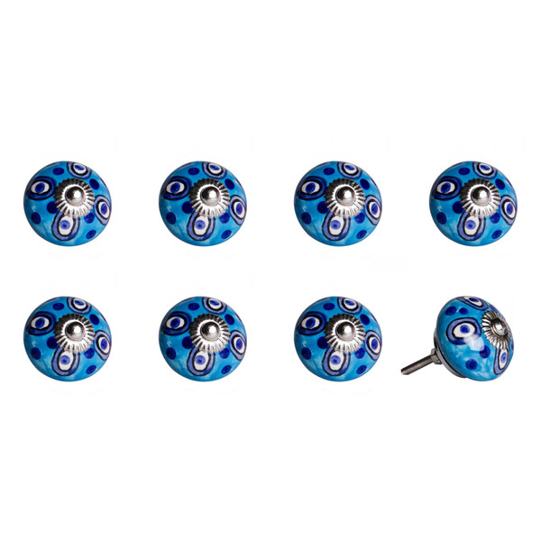 """1.5"""" X 1.5"""" X 1.5"""" Ceramic/Metal Multicolor 8 Pack Knob 358118 By Homeroots"""