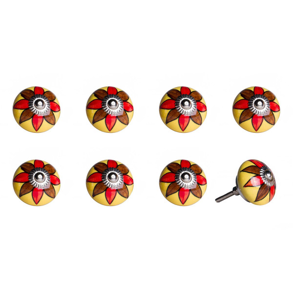"""1.5"""" X 1.5"""" X 1.5"""" Ceramic/Metal Multicolor 8 Pack Knob 358117 By Homeroots"""