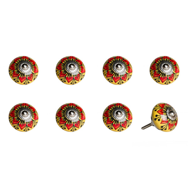 """1.5"""" X 1.5"""" X 1.5"""" Ceramic/Metal Multicolor 8 Pack Knob 358115 By Homeroots"""