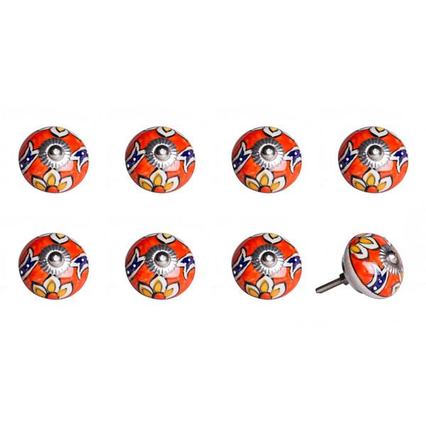 """1.5"""" X 1.5"""" X 1.5"""" Ceramic/Metal Multicolor 8 Pack Knob 358114 By Homeroots"""
