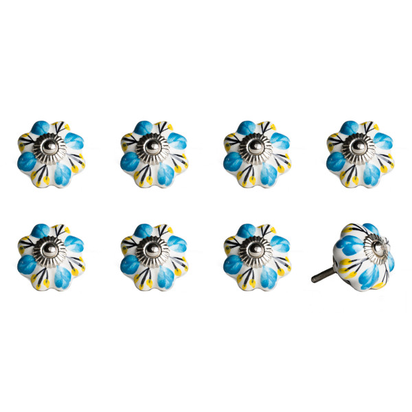 """1.5"""" X 1.5"""" X 1.5"""" Ceramic/Metal Multicolor 8 Pack Knob 358109 By Homeroots"""