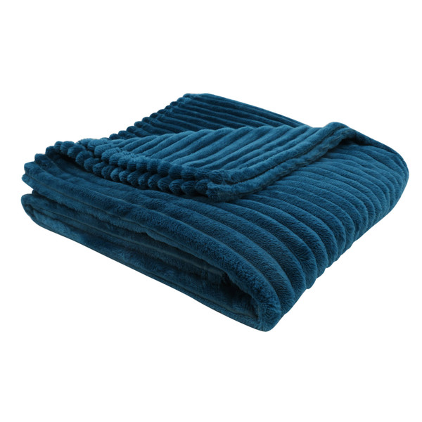 """50"""" X 60"""" Blue, Ultra Soft Ribbed Style - Throw 355937 By Homeroots"""