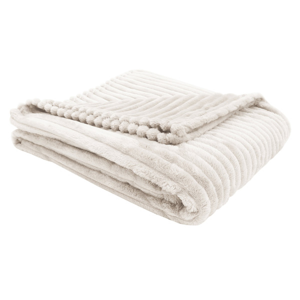 """50"""" X 60"""" Ivory, Ultra Soft Ribbed Style - Throw 355933 By Homeroots"""