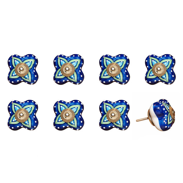 """1.5"""" X 1.5"""" X 1.5"""" Ceramic/Metal Multicolor 8 Pack Knob 358076 By Homeroots"""