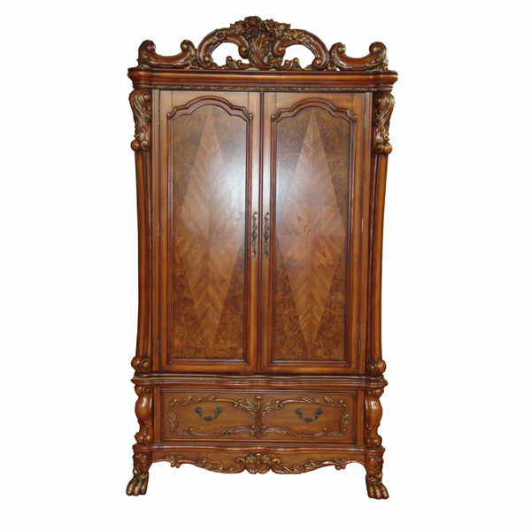 """38"""" X 82"""" X 38"""" Cherry Oak Wood Poly Resin Tv Armoire 348167 By Homeroots"""