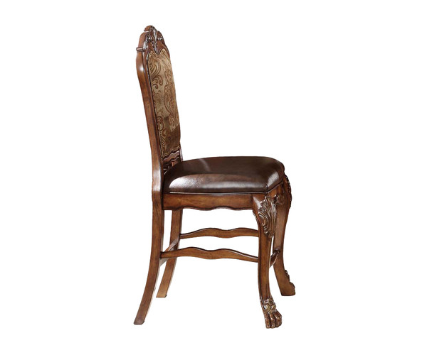 """24"""" X 21"""" X 48"""" Pu Cherry Oak Wood Poly Resin Upholstery Counter Height Chair (Set-2) 347006 By Homeroots"""