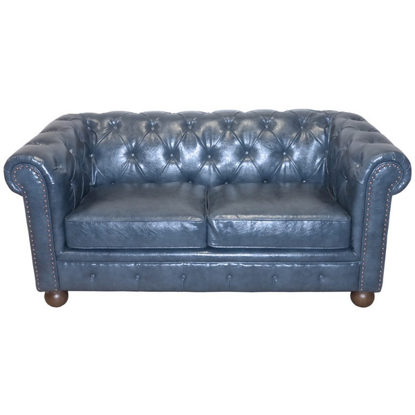 "Armen Living Winston Chesterfield Style Blue Bonded Leather Loveseat - LC10602ATBL ""Special"""