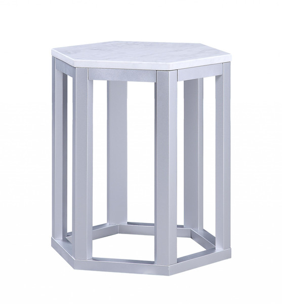 """16"""" X 18"""" X 20"""" Silver Marble Wood 2Pc Pk End Table 347429 By Homeroots"""