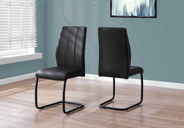 """Two 77.5"""" Black Leather Look, Chrome Metal, And Foam Dining Chairs 332628 By Homeroots"""
