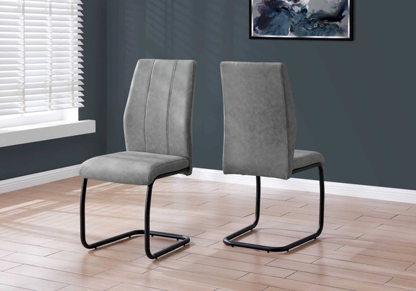 """Two 77.5"""" Fabric, Black Metal, And Polyester Dining Chairs 332621 By Homeroots"""