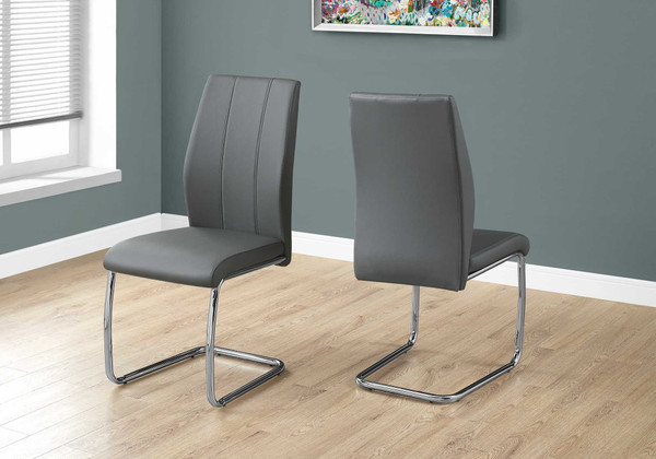 """Two 77.5"""" Grey Leather Look, Chrome Metal, And Foam Dining Chairs 332603 By Homeroots"""