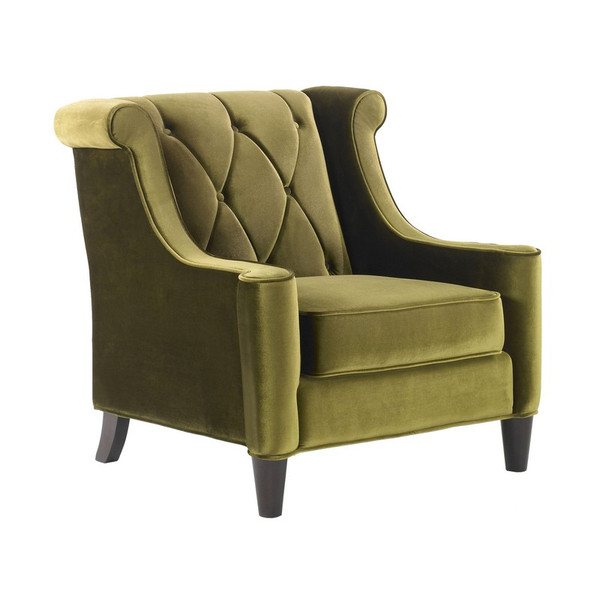 "Armen Living Barrister Green Velvet Chair With Green Piping - LC8441GREEN ""Special"""