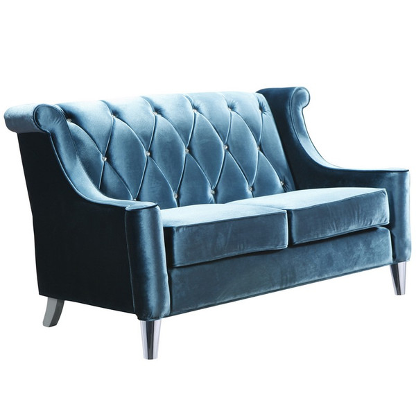 """Armen Living Barrister Blue Velvet Loveseat With Crystal Buttons - LC8442BLUE """"Special"""""""