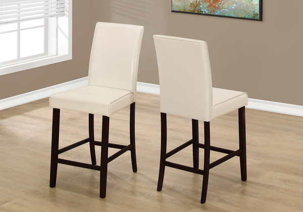 """Two 40"""" Ivory Leather Look, Solid Wood, And Mdf Counter Height Dining Chairs 332666 By Homeroots"""