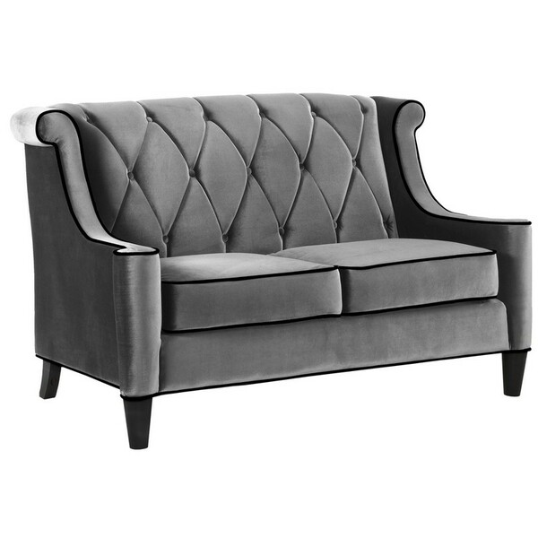"Armen Living Barrister Gray Velvet Loveseat With Black Piping - LC8442GRAY ""Special"""
