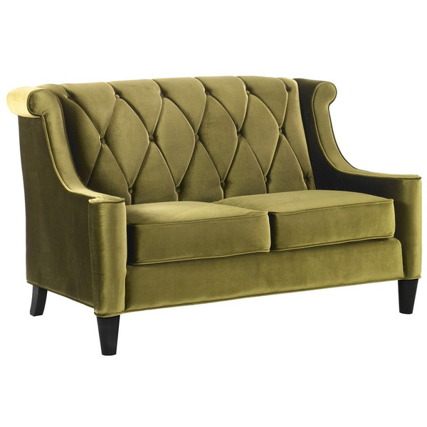 """Armen Living Barrister Green Velvet Loveseat With Green Piping - LC8442GREEN """"Special"""""""