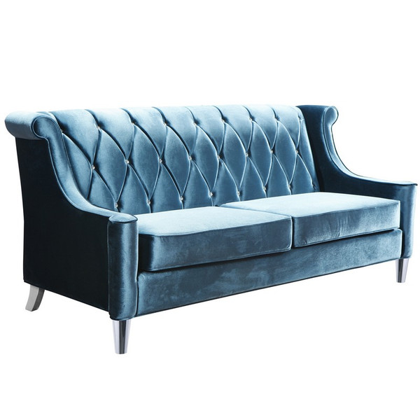 "Armen Living Barrister Sofa In Blue Velvet W/ Tufted Crystal Buttons - LC8443BLUE ""Special"""