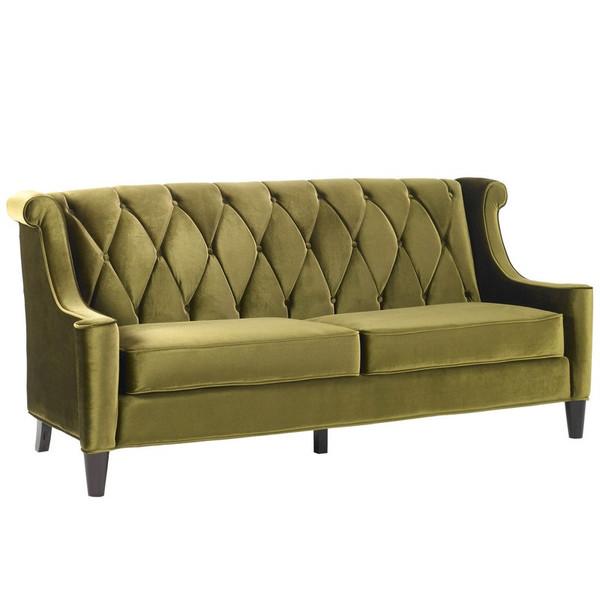 """Armen Living Barrister Sofa In Green Velvet - LC8443GREEN """"Special"""""""
