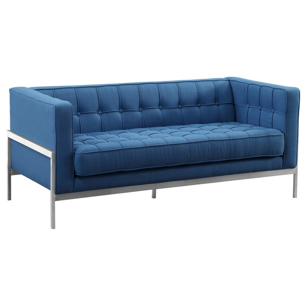 "Armen Living Andre Contemporary Loveseat And Blue Fabric LCAN2BLUE ""Special"""