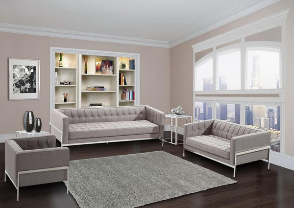 """Armen Living Andre Gray Tweed Loveseat With Steel Frame LCAN2GR """"Special"""""""