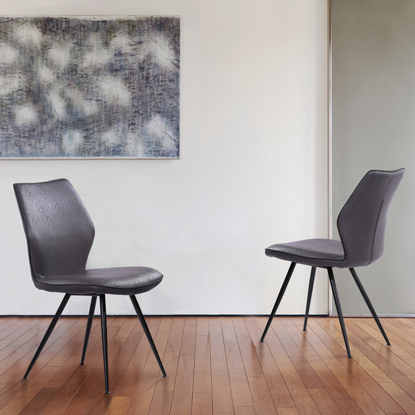 """Armen Living Agoura Contemporary Dining Chair In Grey Faux Leather - Set Of 2 """"Special"""""""
