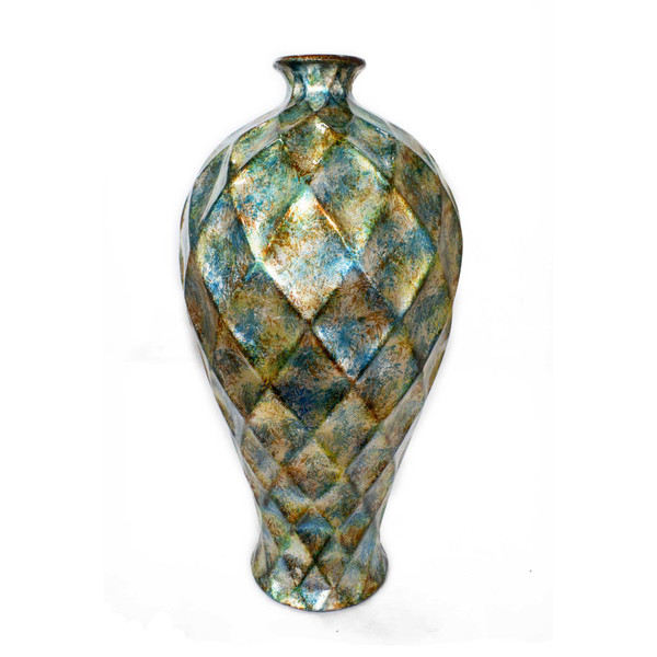 """11"""" X 11"""" X 20"""" Green Gold Orange Ceramic Foiled & Lacquered Faceted Plum Vase 354519 By Homeroots"""