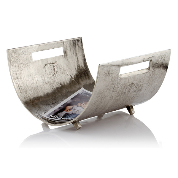 "16.5"" X 17"" X 10"" Raw Silver - Magazine Basket 354612 By Homeroots"