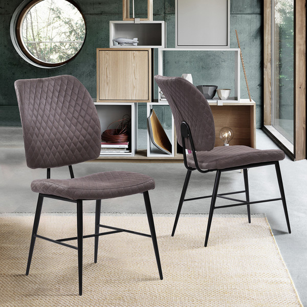 """Armen Living Buckley Contemporary Dining Chair In Grey Fabric - Set Of 2 Lcbcsigr """"Special"""""""