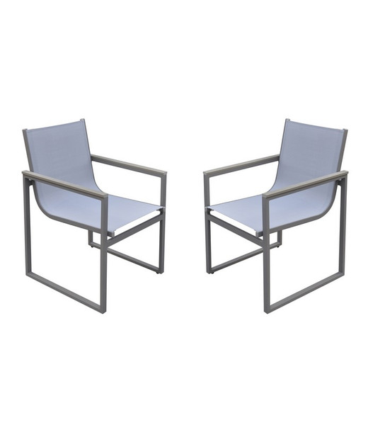 """Armen Living Bistro Outdoor Patio Dining Chair - Set Of 2 LCBICHGR """"Special"""""""