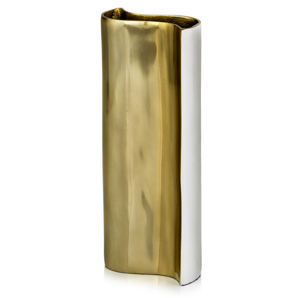 """2"""" X 5"""" X 12.5"""" White/Gold - Wave Vase 354647 By Homeroots"""