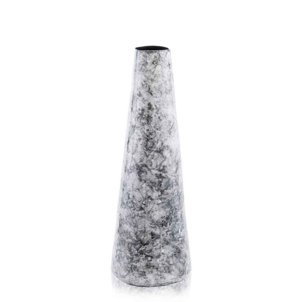"""5"""" X 5"""" X 14"""" Black, Faux Marble/Cone Small - Vase 354691 By Homeroots"""