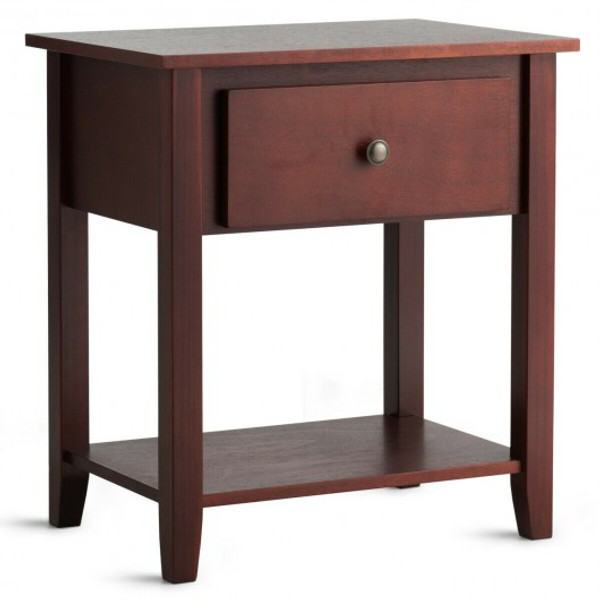 HW66561BN Nightstand Beside Sofa Table End Table with Drawer & Shelf
