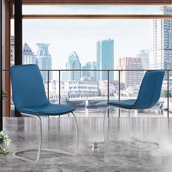 """Armen Living Brittany Contemporary Dining Chair In Blue Faux Leather - Set Of 2 """"Special"""""""