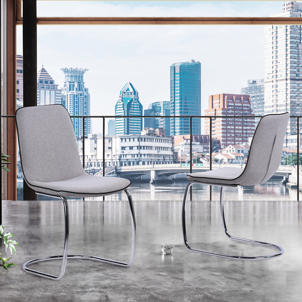 """Armen Living Brittany Contemporary Dining Chair In Pewter Fabric - Set Of 2 """"Special"""""""