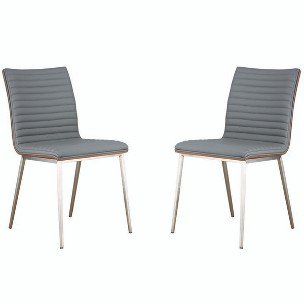 """Armen Living Cafe Brushed Steel Dining Chair-Gray Pu (Set Of 2) - LCCACHGRB201 """"Special"""""""