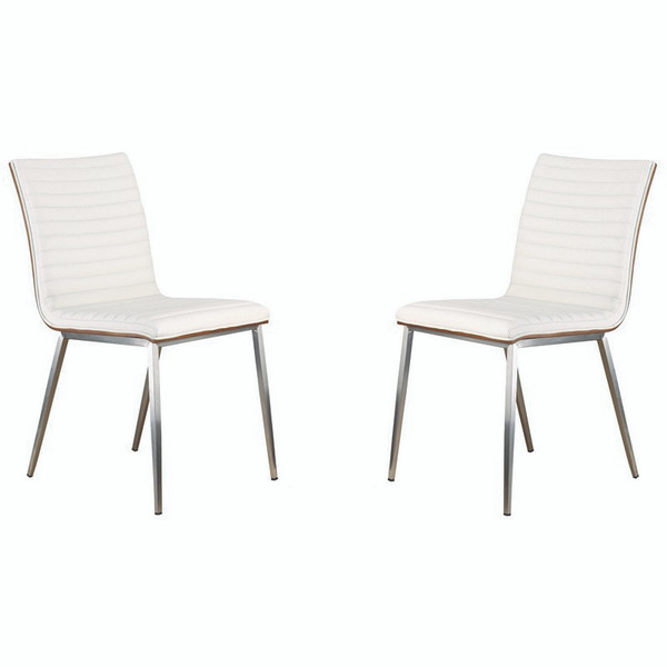 "Armen Living Cafe Brushed Steel Dining Chair-White Pu (Set Of 2) - LCCACHWHB201 ""Special"""