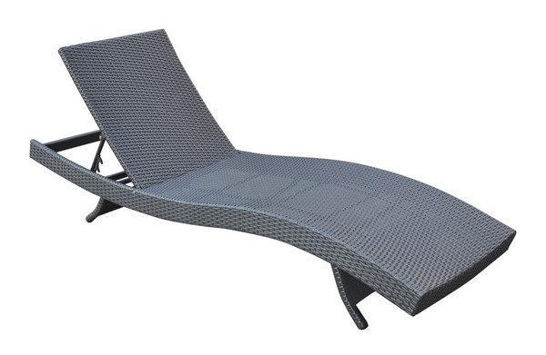"Armen Living Cabana Outdoor Adjustable Wicker Chaise Lounge Chair LCCALOBL ""Special"""