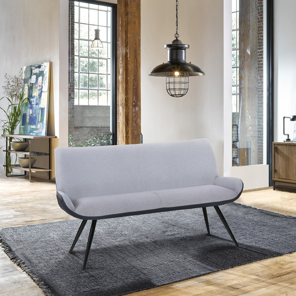 "Armen Living Coronado Contemporary Bench In Brushed Gray Powder Coated Finish ""Special"""