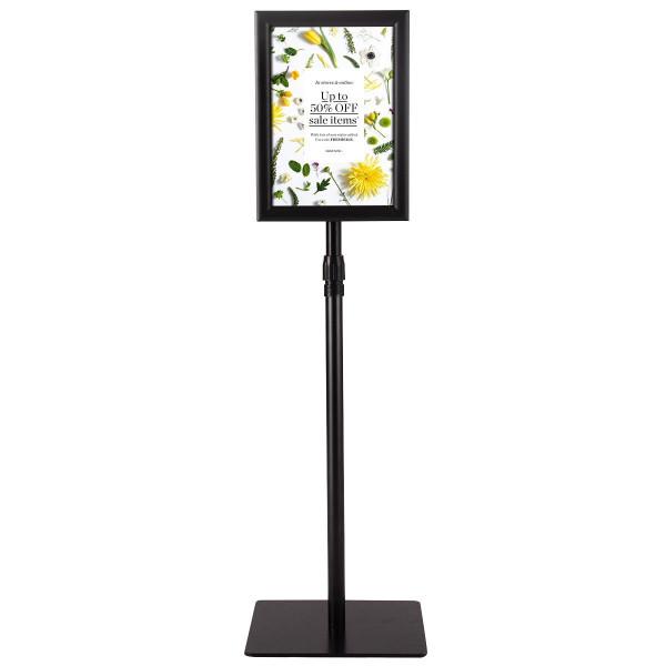 """HW59106BK 8.5"""" X 11"""" Aluminum Adjustable Pedestal Poster Stand Holder-Black"""
