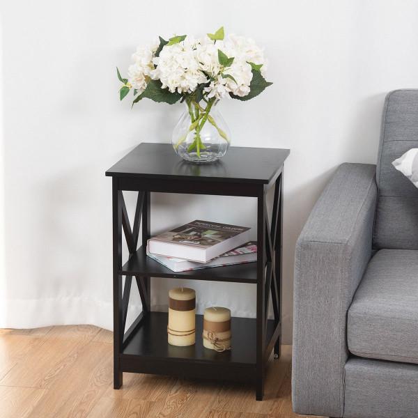 HW58944BK 3-Tier Living Room Display Storage Shelf Nightstand-Black
