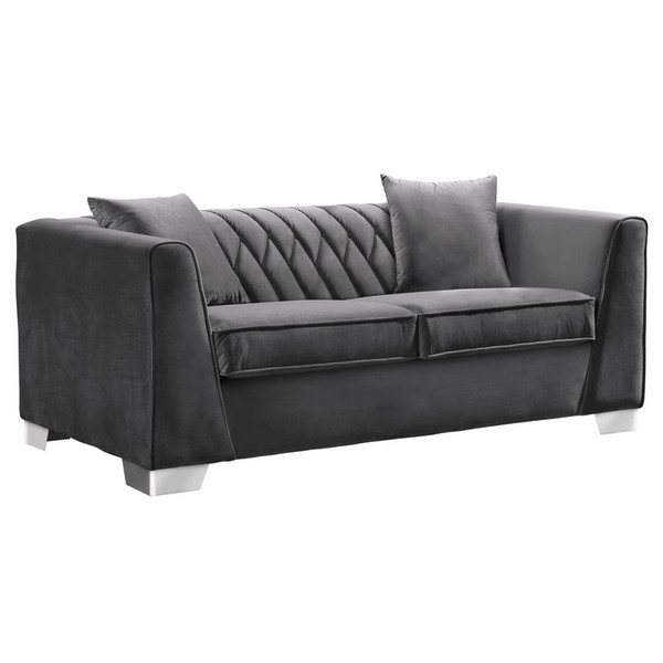 "Armen Living Cambridge Contemporary Loveseat And Dark Grey Velvet LCCM2GR ""Special"""
