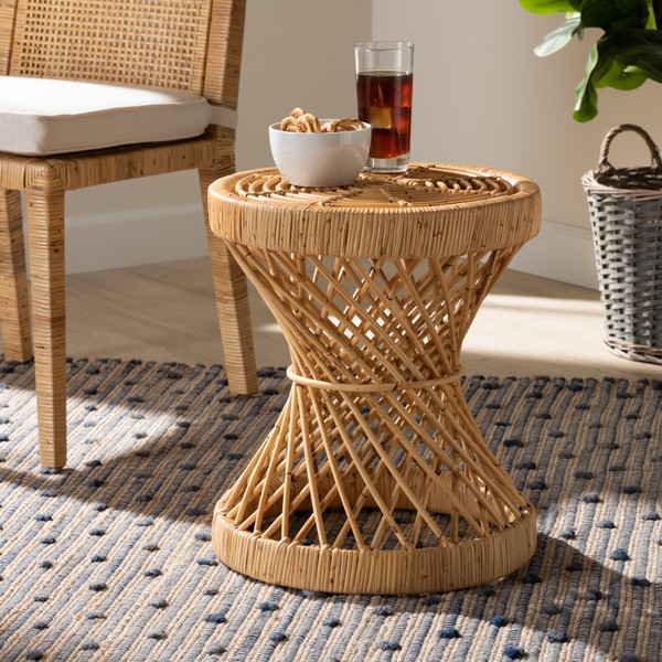 Seville Modern And Contemporary Natural Finished Rattan End Table By Baxton Studio Seville-Natural-ET
