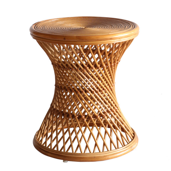 Kirby Rattan Round Side/ End Table, Canary Brown 2400045-CB