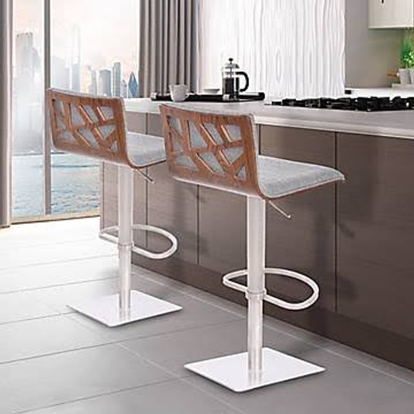 "Armen Living Crystal Grey PU Barstool - Brushed Steel LCCRBAGR ""Special"""