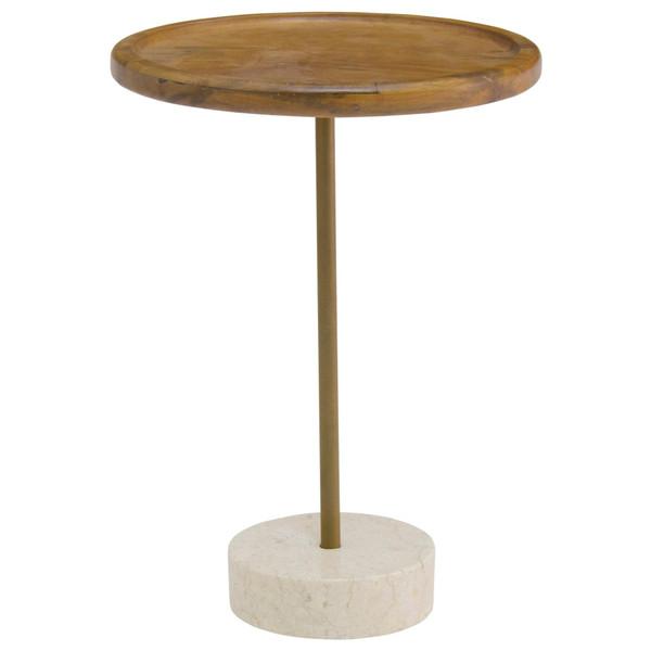 Roya Kd Teak Side/ End Table Marble Base, Natural 1210005