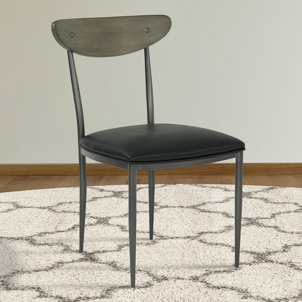 "Armen Living Davis Mid-Century Dining Chair In Grey Walnut Wood Back - Set Of 2 ""Special"""