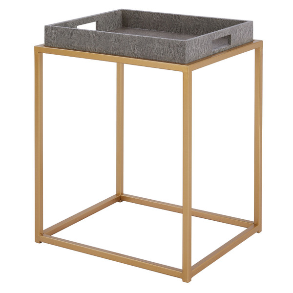 Feyre Faux Shagreen Removable Tray End Table 1600047