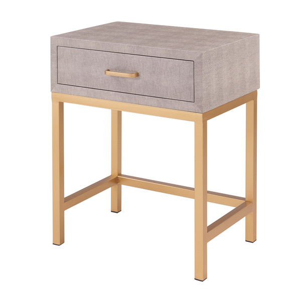 Durham Faux Shagreen 1-Drawer End Table 1600035